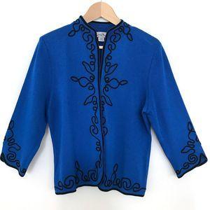 Ming Wang Embroidered Cardigan Jacket